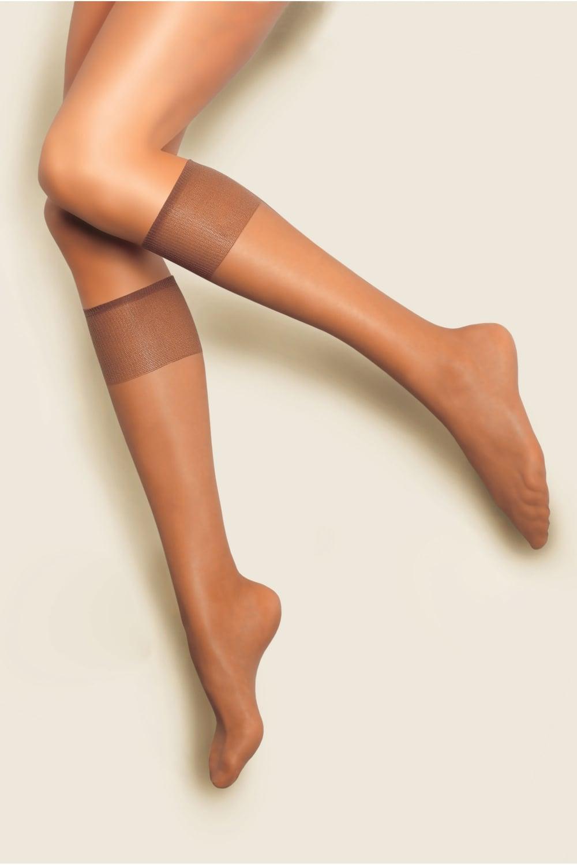 a821f4008fcf80 Andrea Bucci 10 Denier Silk Satin Sheen Knee Highs 2 Pair Pack