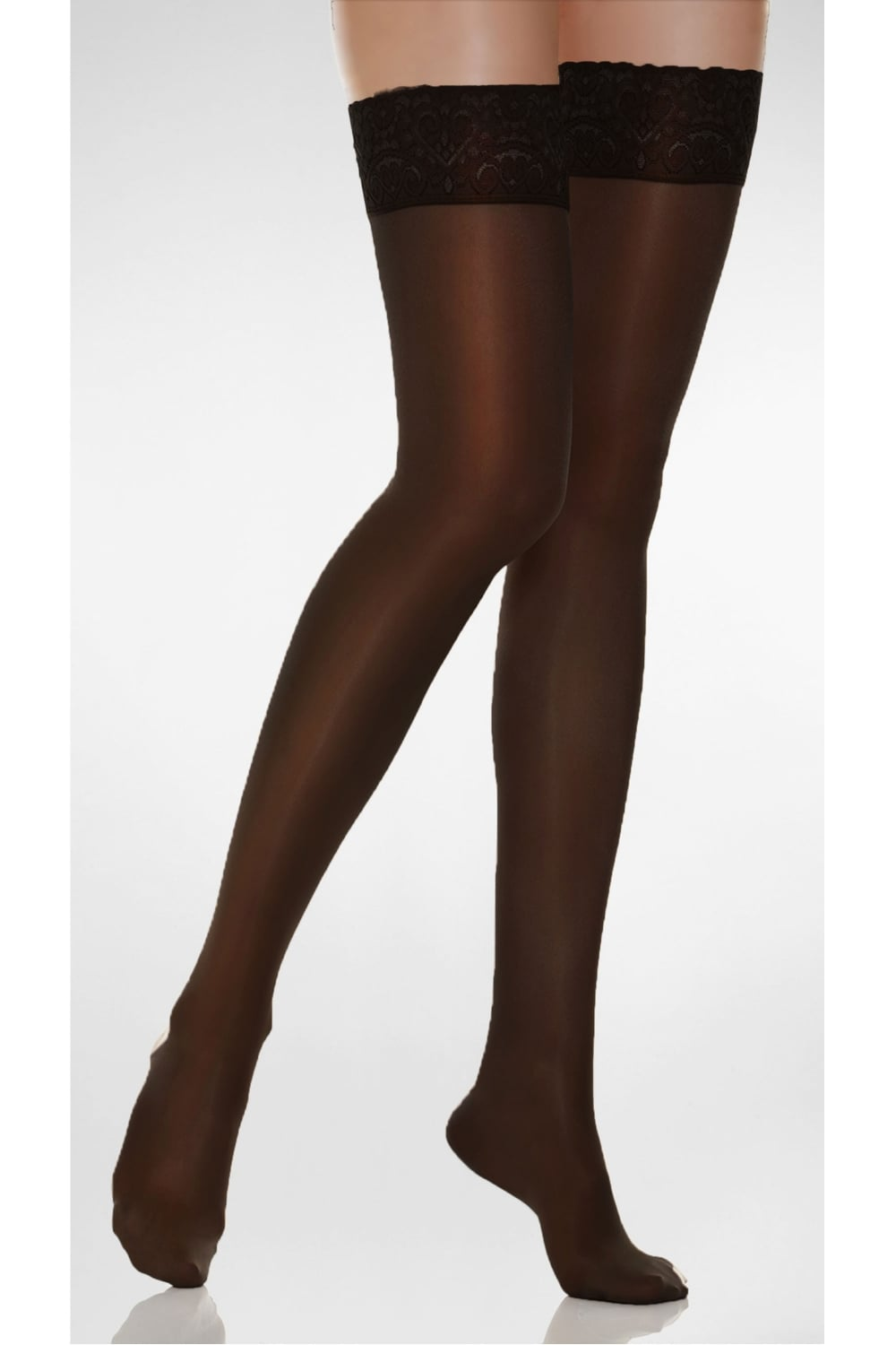 Andrea Bucci 15 Denier Gloss Sheer Luxury Lace Top Hold Ups