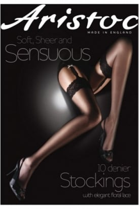 Sensuous 10 Denier Lace Top Stockings