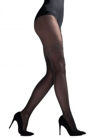 0b61e09cb24 Sheer Lurex Tights With Mock Hold Up Design AVR9