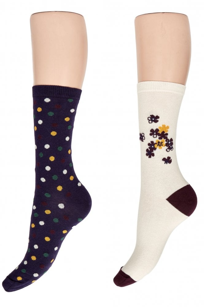 Charnos Cotton Rich Floral and Spot Ankle Socks CGBI