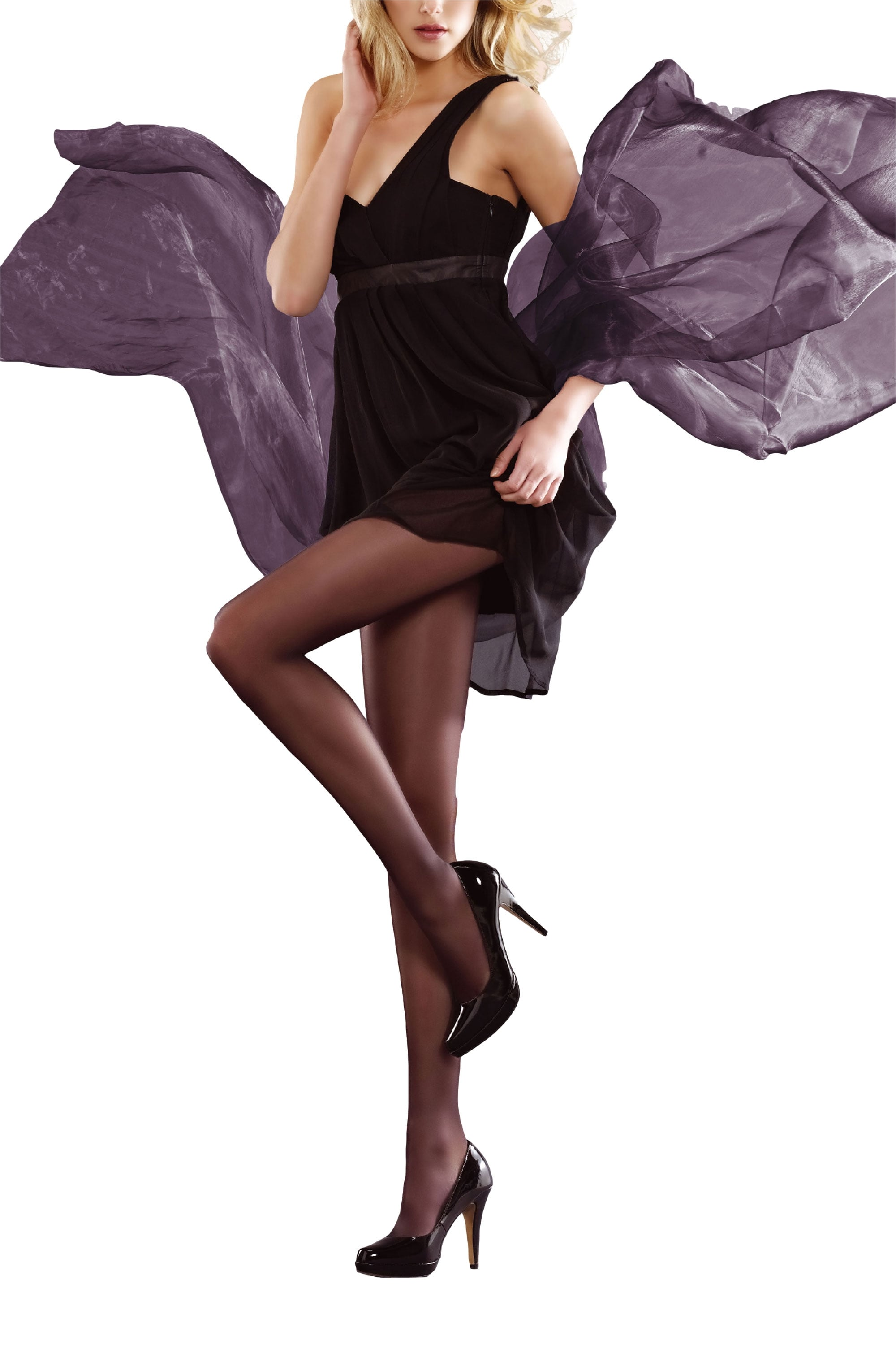 Small Ladies 1 Pair Charnos 15 Denier Sheer Lustre Hold Ups In 4 Colours Black