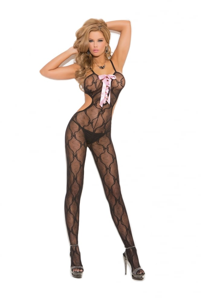 Elegant Moments Bow Tie Lace Bodystocking with Satin Lace Up Front