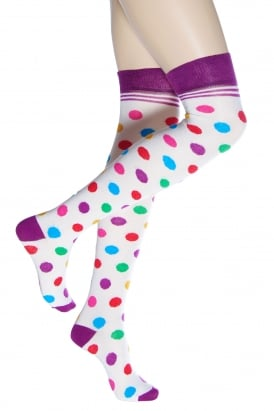 1eed42380 Multicolour Spot Over Knee Socks