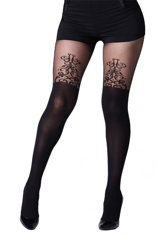 Gipsy Baroque Detail Mock Overknee Tights