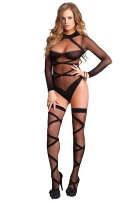 2 Piece Sheer Long Sleeved Teddy With Matching Stockings