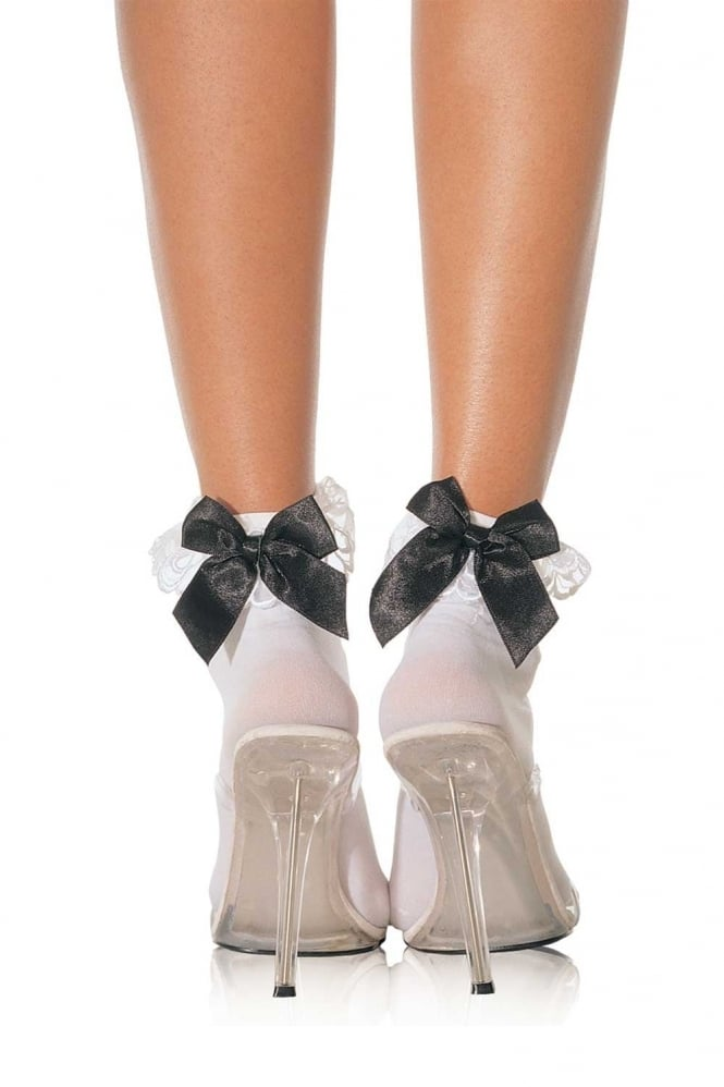 Leg Avenue Bow And Lace Ruffle Ankle Socks
