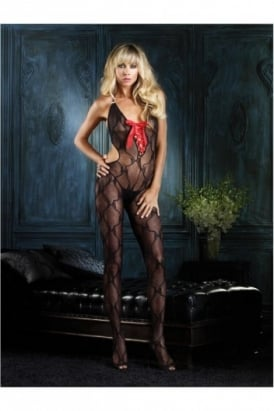 Bow Lace Cut Out Bodystocking