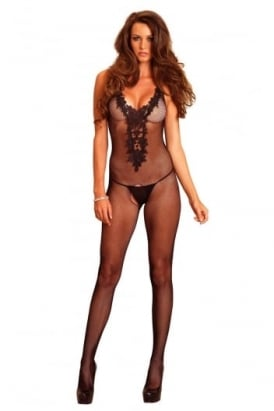 Fishnet Crotchless Bodystocking With Embroidered Applique Bodice