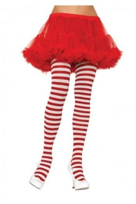 Red And White Nylon Striped Tights