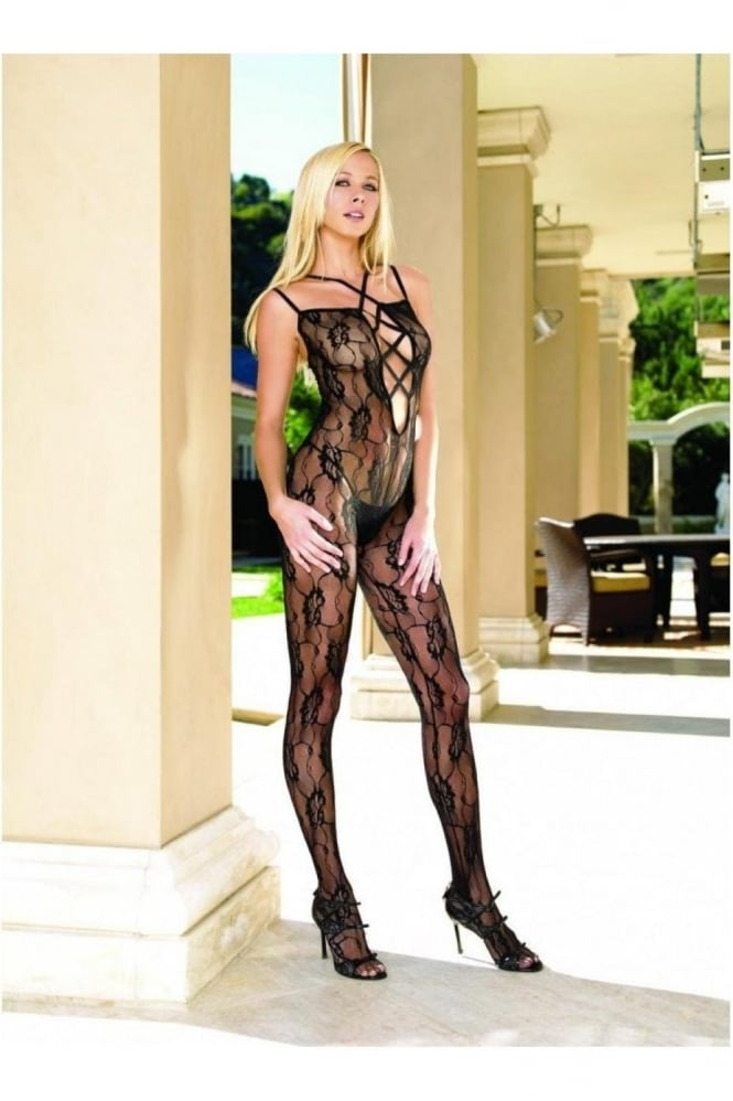 Leg Avenue Romantic Lace Criss Cross Strapped Bodystocking