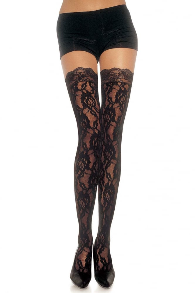 Leg Avenue Rose Lace Stockings With Lace Top