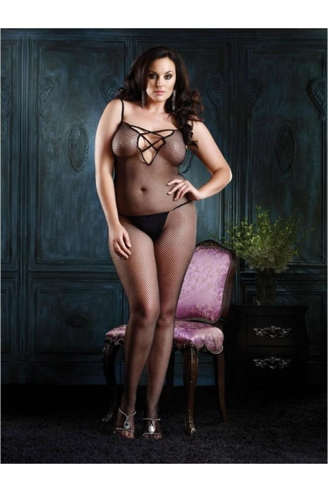 Leg Avenue Seamless Fishnet Bodystocking with Criss Cross Strap Back Plus Size