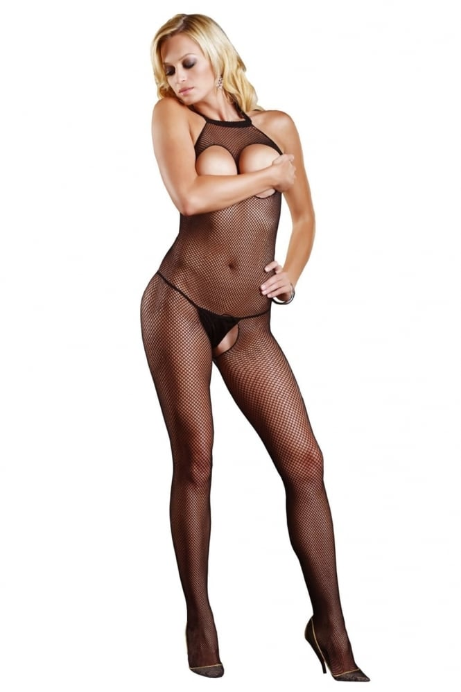 Leg Avenue Seamless Halter Cut Out Bust Fishnet Bodystocking
