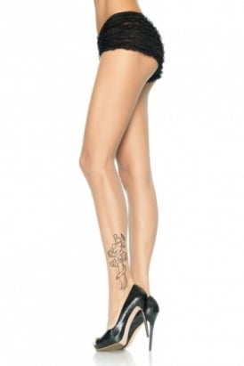 Spandex Sheer Tattoo Print Tights
