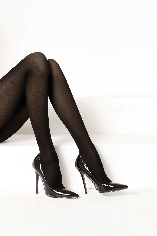 Black 60 Denier appearance 50/% Cotton Levante Luxe Legs Fine Cotton Tights
