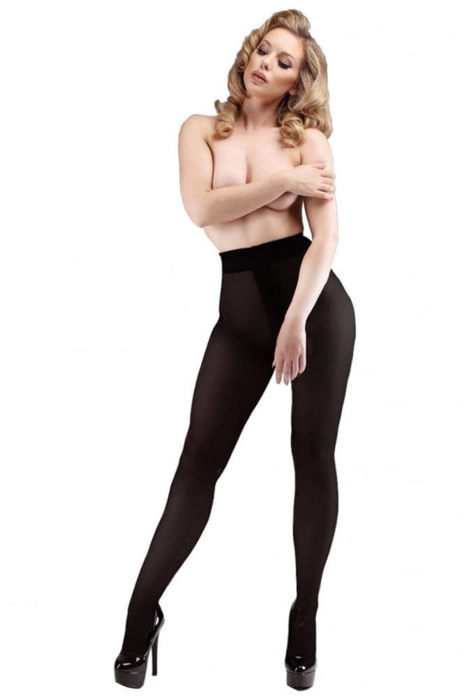 Miss Naughty Blackout Opaque Crotchless Tights