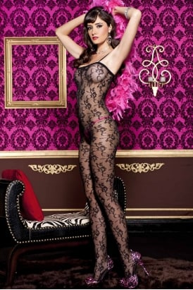 Floral Lace Crotchless Bodystocking 1768