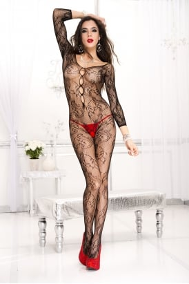 Long Sleeve Paisley Bodystocking 1012