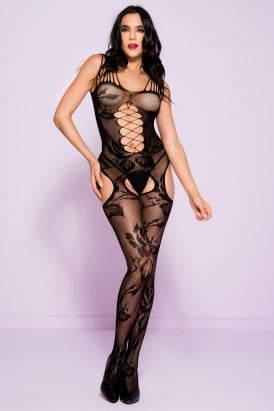 Shredded Straps Lace Crotchless Bodystocking 1253