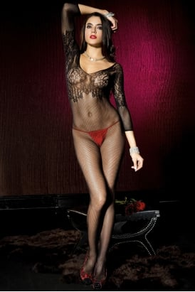 Spandex Seamless Fishnet Quarter Sleeve Crotchless Bodystocking With Floral Lace Bodice 1570