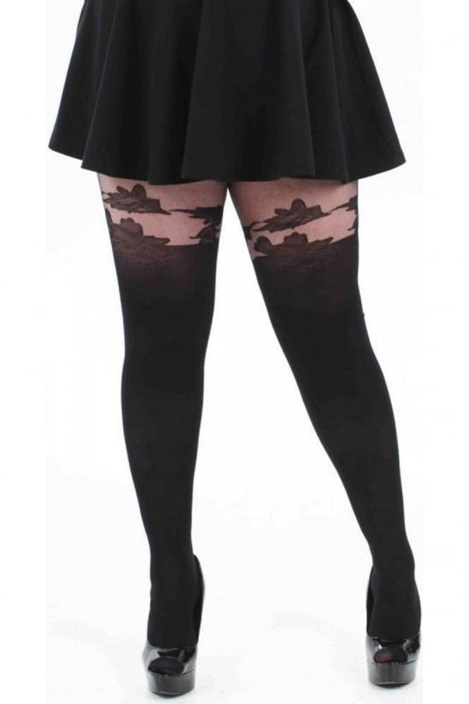 Pamela Mann Floral Suspender Tights Plus Size