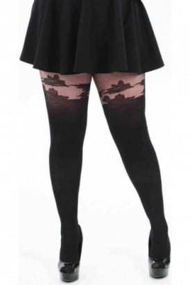 Floral Suspender Tights Plus Size