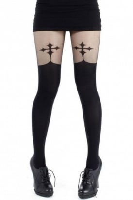 Goth Cross Suspender Tights
