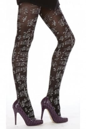 Musical Notes Flocked Tights
