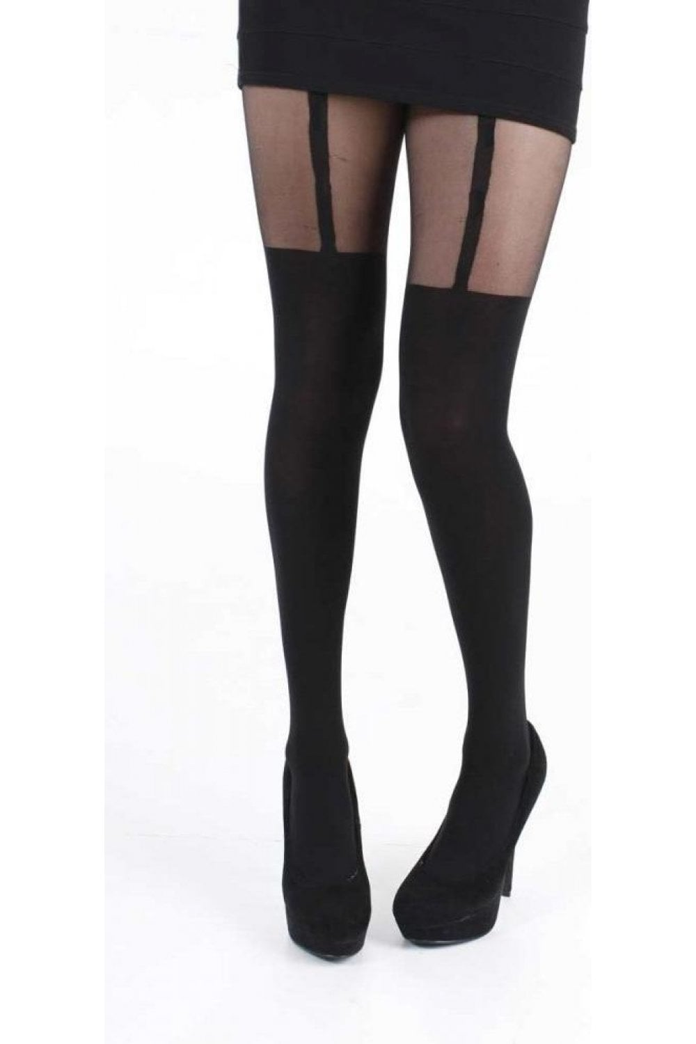 84d3088ed Pamela Mann Plain Stripe Suspender Tights