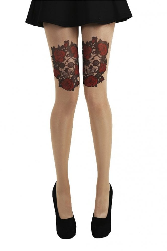 Pamela Mann Skull and Red Roses Gothic Tattoo Tights