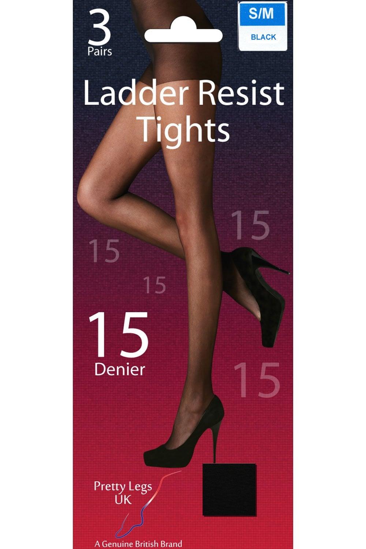 df2a531e85a Pretty Legs 15 Denier Ladder Resist Tights 3Pr Pack D5RM3