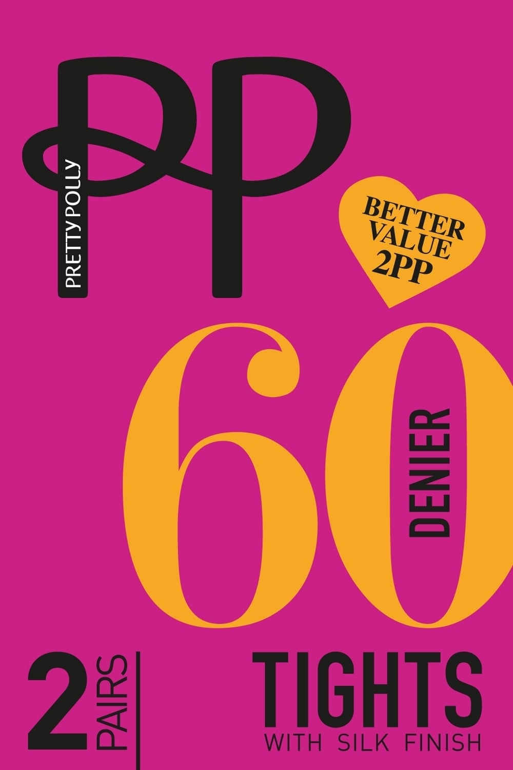 affcdb8be Pretty Polly 60 Denier Black Opaque Tights with Silk Finish 2 Pr Pack