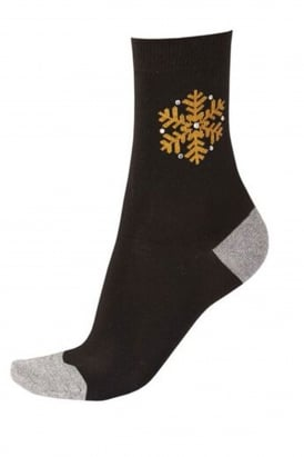 Crystal Snowflake Ankle Socks