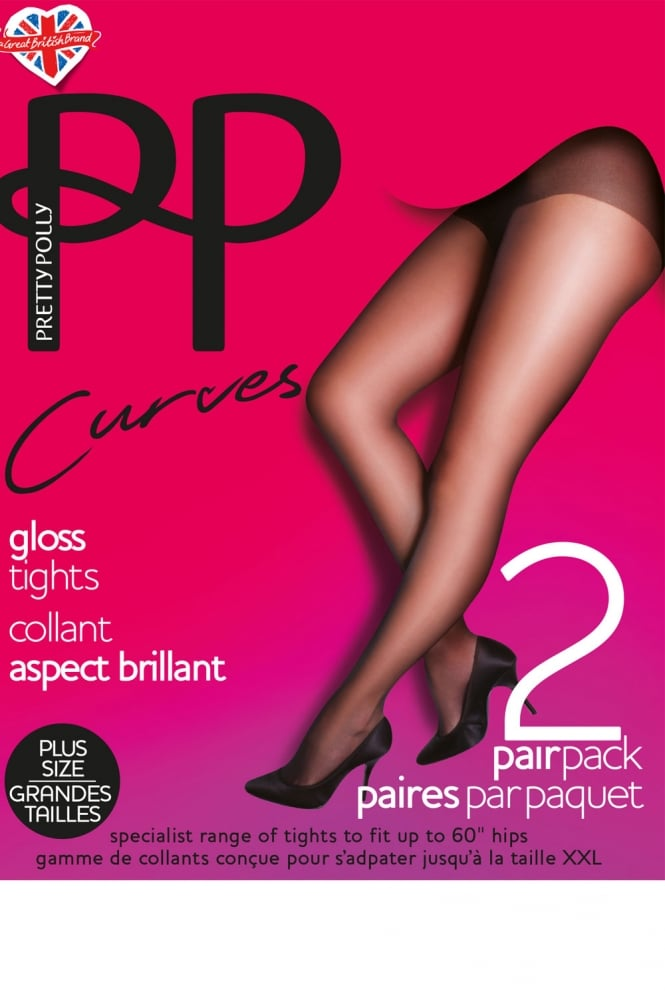 Pretty Polly Curves Gloss Tights 2 Pair Pack