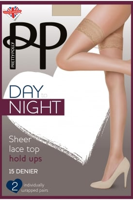 d6115cca5 Day to Night 2PP Sheer Lace Top Holdups EVH3. Pretty Polly ...