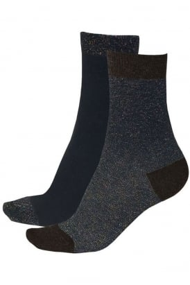 Lurex Stripe Socks 2 Pair Pack