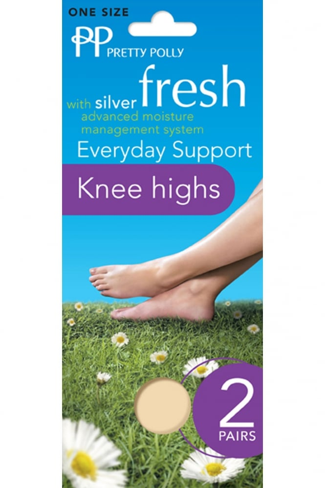 Pretty Polly Silver Fresh Medium Support Knee Highs 2 Pair Pack