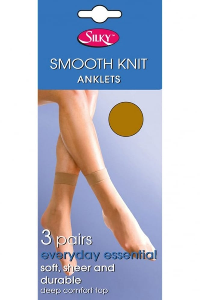 Silky 3 Pairs Smooth Knit Anklets
