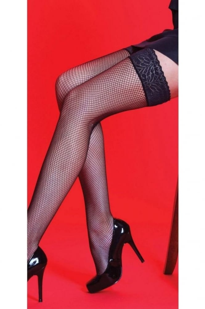 Silky Fishnet Lace Top Hold Ups