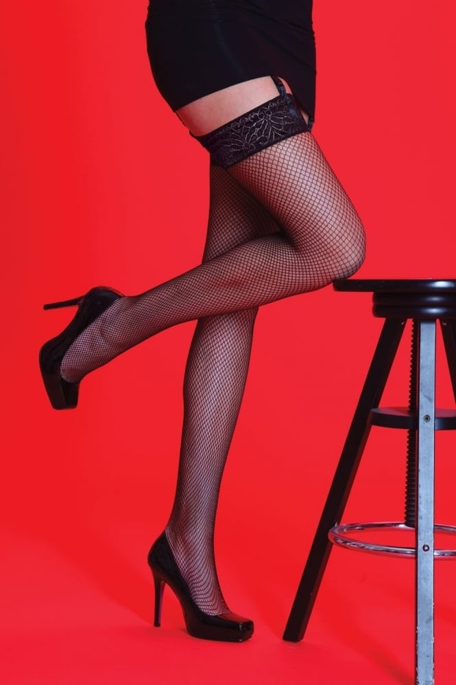 Silky Fishnet Lace Top Stockings