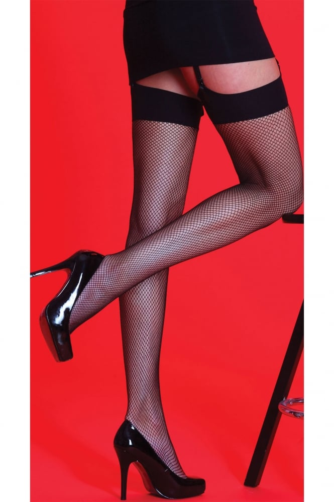 Silky Fishnet Plain Top Stockings