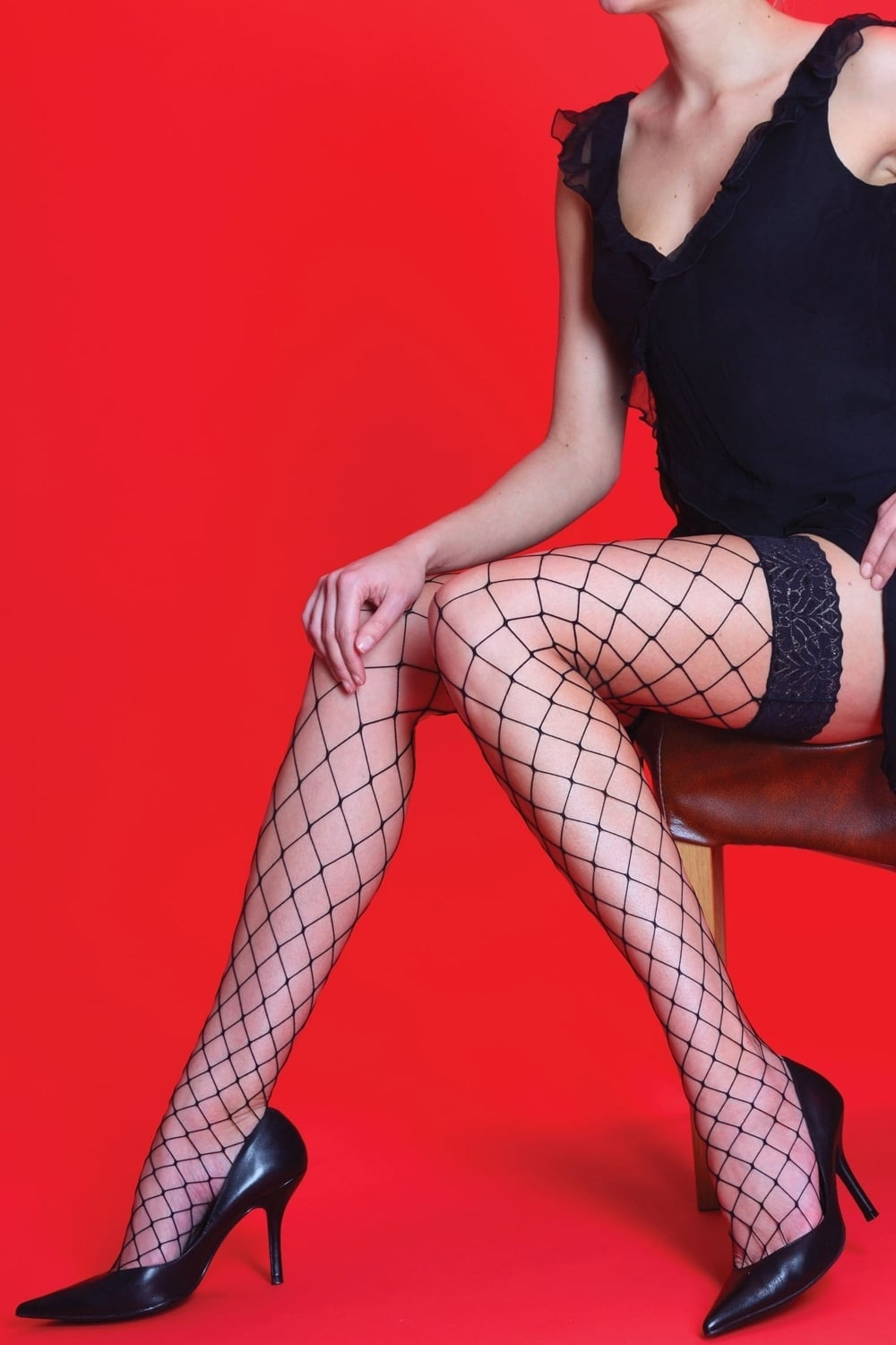 fbf2513e9 Whale Net Lace Top Hold Ups by Silky