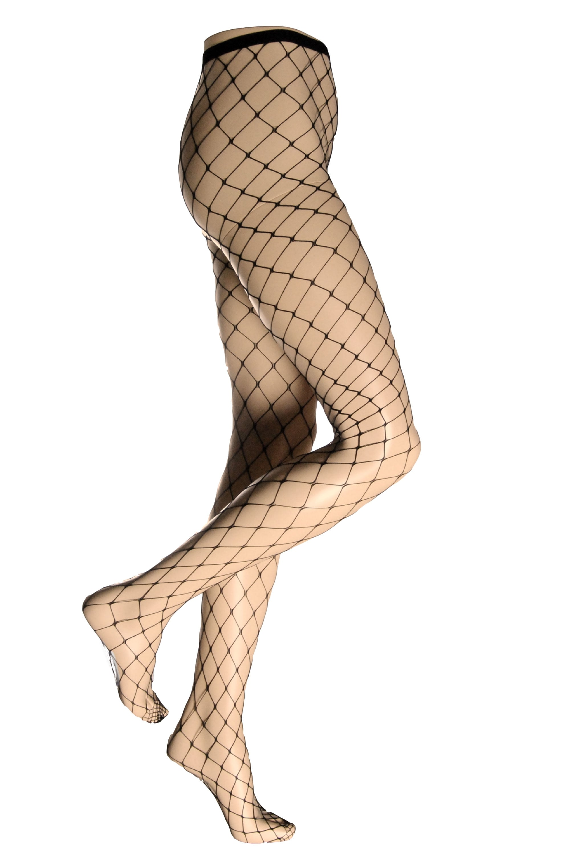 BLACK WHALE NET HOLD UP STOCKINGS BY SILKY ONE SIZE