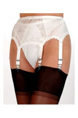 6 Strap Suspender Belt With Lace Front Panel