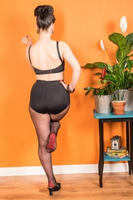 25e94eec331 Contrast Seamed Tights Black Red H2060